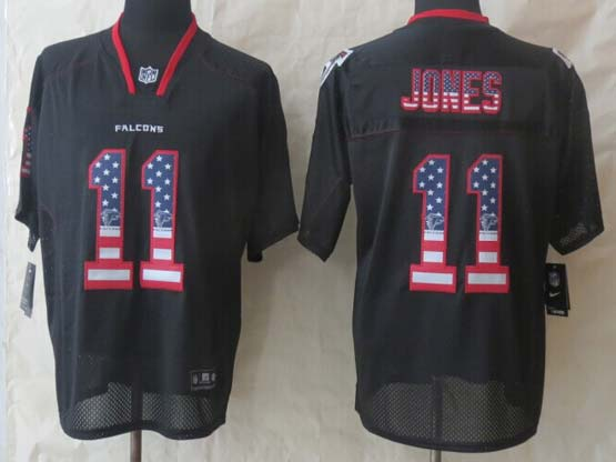 Mens Nfl Atlanta Falcons #11 Jones Black (2014 Usa Flag Fashion) Elite Jersey