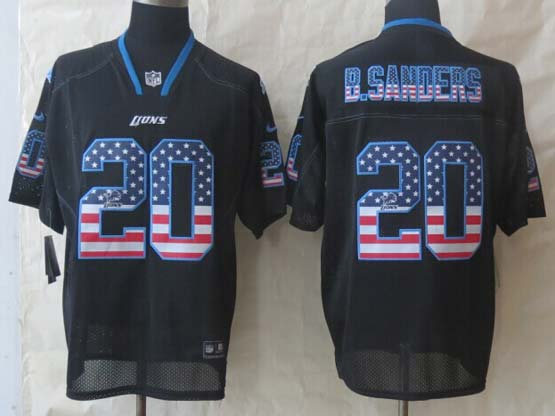 mens nfl Detroit Lions #20 Barry Sanders black (2014 usa flag fashion) elite jersey