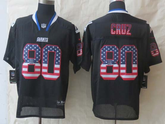 mens nfl New York Giants #80 Victor Cruz black (2014 usa flag fashion) elite jersey