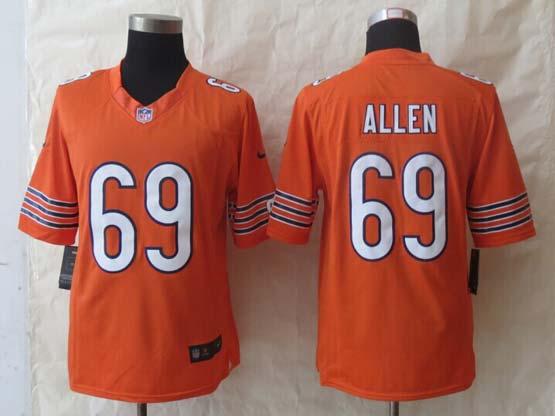 Mens Nfl Chicago Bears #69 Allen Orange Limited Jersey