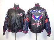 Mens Nhl Washington Capitals Men Embroidered Faux Leather Zipper Jacket