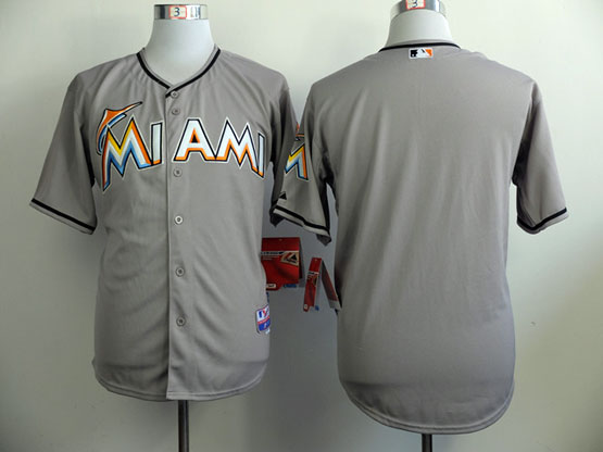 Mens Mlb Miami Marlins Blank Gray Jersey