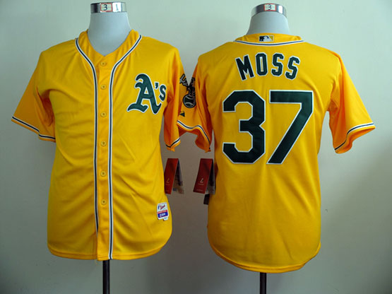 Mens Mlb Oakland Athletics #37 Moss Yellow Jersey