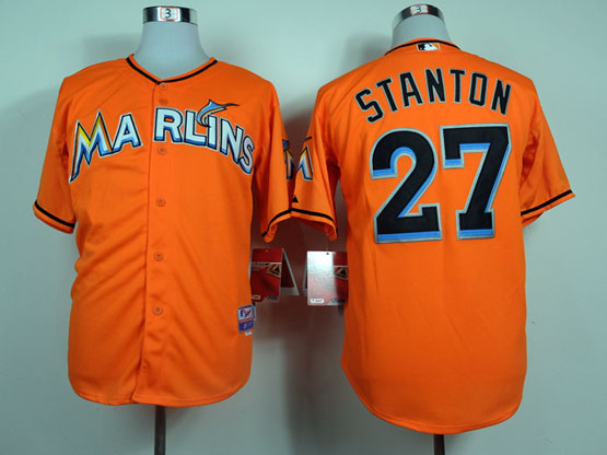 Mens Mlb Miami Marlins #27 Stanton Orange Jersey