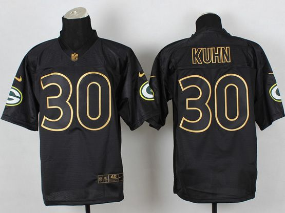 Mens Nfl Green Bay Packers #30 Kuhn Black 2014 Pro Gold Lettering Fashion Elite Jersey