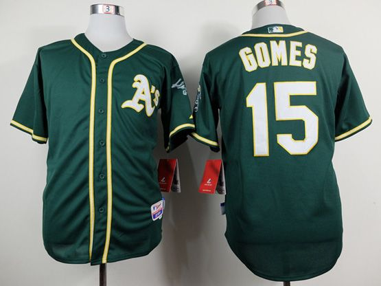 Mens Mlb Oakland Athletics #15 Gomes Green Jersey