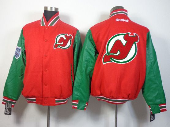 Mens Nhl New Jersey Devils Men Embroidered Cotton Button Red Jacket