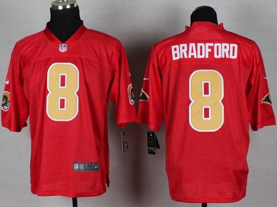 Mens Nfl St. Louis Rams #8 Bradford 2014 Qb Red Jersey