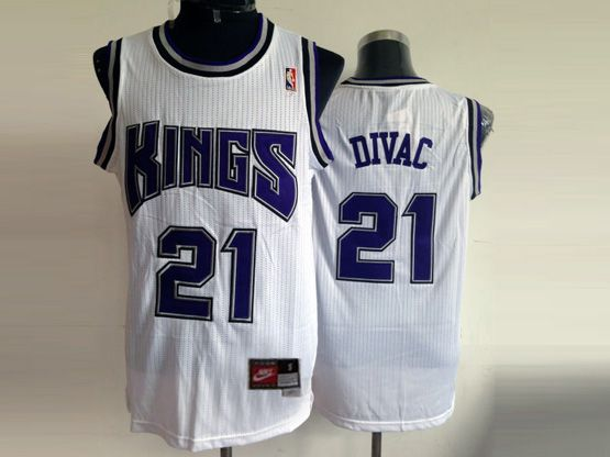 Mens Nba Sacramento Kings #21 Divac White (blue Number) Jersey (m)