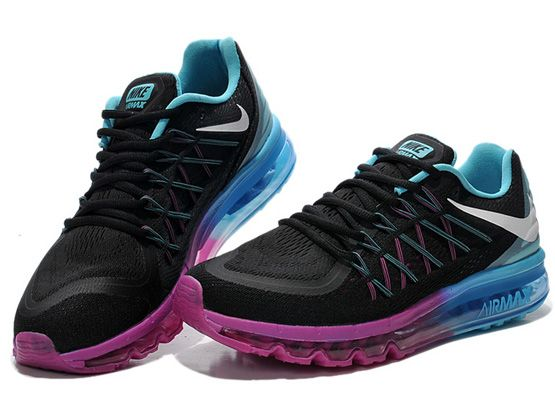Women Air Max 2015 Running Shoes Color Black&purple&blue