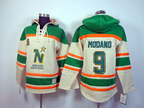 Mens nhl dallas stars #9 modano cream&green hoodie Jersey