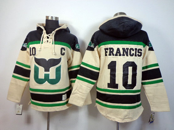 Mens nhl hartford whalers #10 francis cream color c patch hoodie Jersey