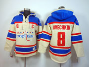 Mens nhl washington capitals #8 ovechkin cream color c patch hoodie Jersey