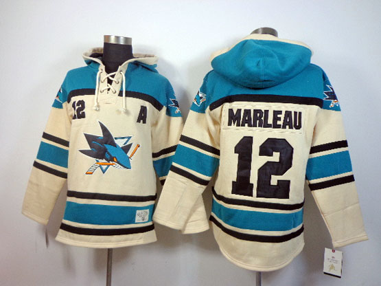 Mens nhl san jose sharks #12 marleau cream color a patch hoodie Jersey