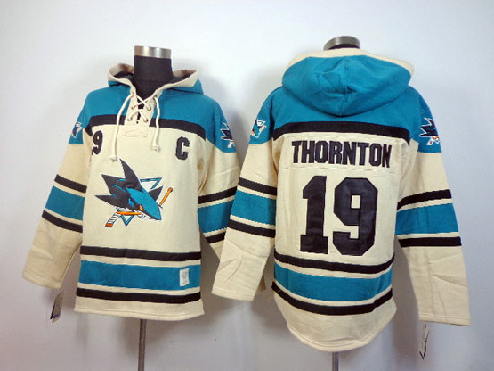 Mens nhl san jose sharks #19 thornton cream color c patch hoodie Jersey