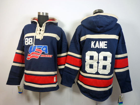 Mens nhl team usa #88 kane dark blue hoodie Jersey