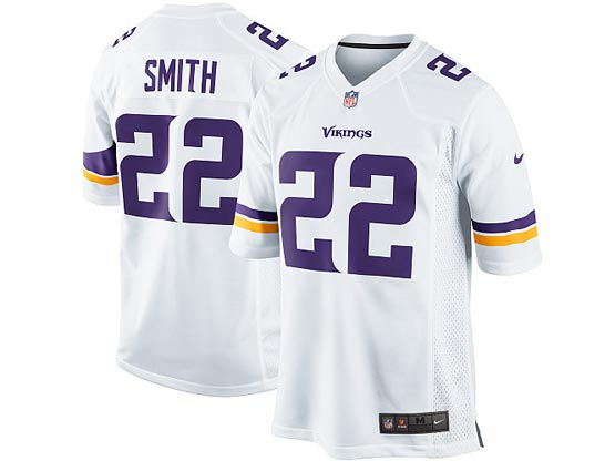Mens Nfl Minnesota Vikings #22 Smith (2013 New) White Game Jersey