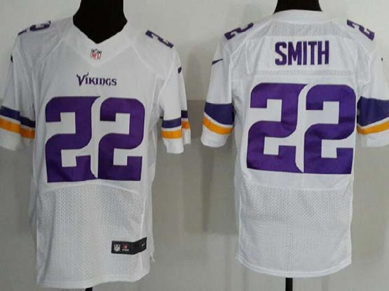 Mens Nfl Minnesota Vikings #22 Smith (2013 New) White Elite Jersey