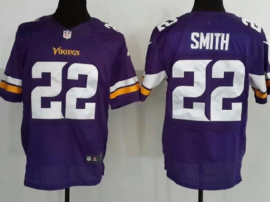 Mens Nfl Minnesota Vikings #22 Smith (2013 New) Purple Elite Jersey
