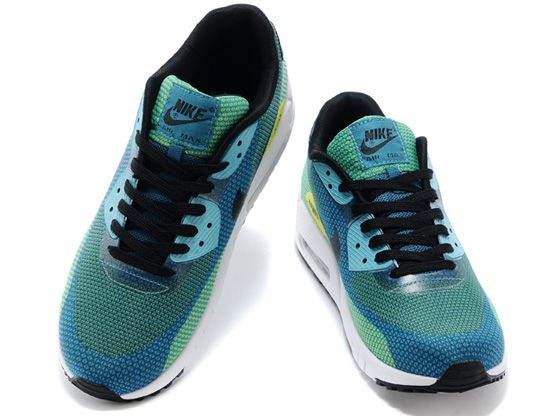 Women    2014 Air Max 90 Running Shoes Color Green&blue&white