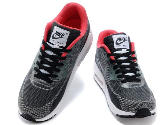 Women    2014 Air Max 90 Running Shoes Color Black&red&white