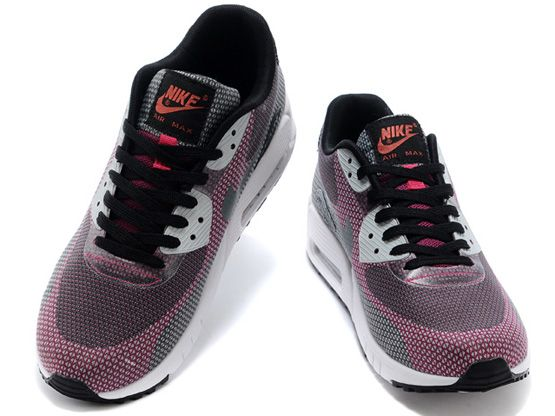 Women    2014 Air Max 90 Running Shoes Color Red&gray&white