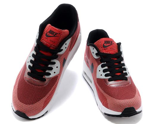 Women    2014 Air Max 90 Running Shoes Color Red&black&white
