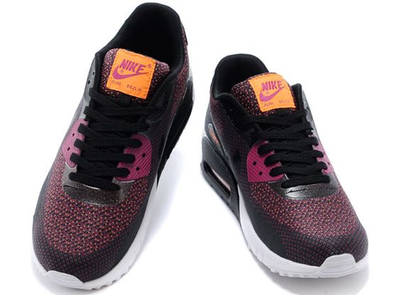 Women    2014 Air Max 90 Running Shoes Color Purple&black&white