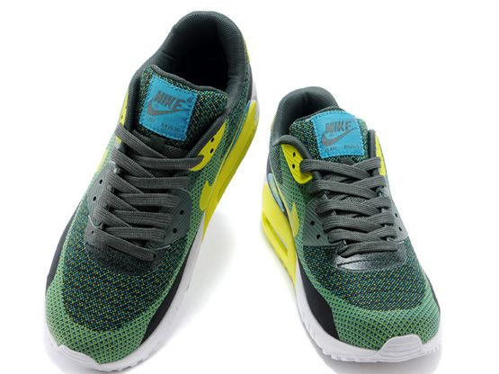 Women    2014 Air Max 90 Running Shoes Color Green&yellow&white