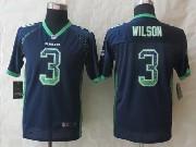 Youth Nfl Seattle Seahawks #3 Wilson Blue 2014 New Drift Fashion Elite Jersey