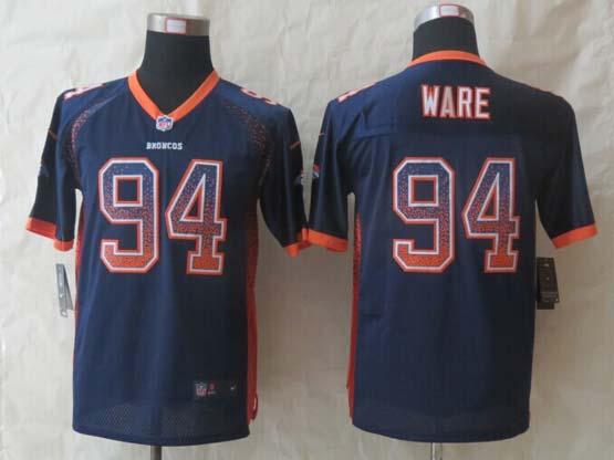 Youth Nfl Denver Broncos #94 Ware Blue 2014 New Drift Fashion Elite Jersey