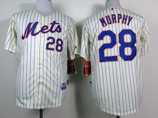 Mens mlb new york mets #28 murphy cream (blue stripe) Jersey