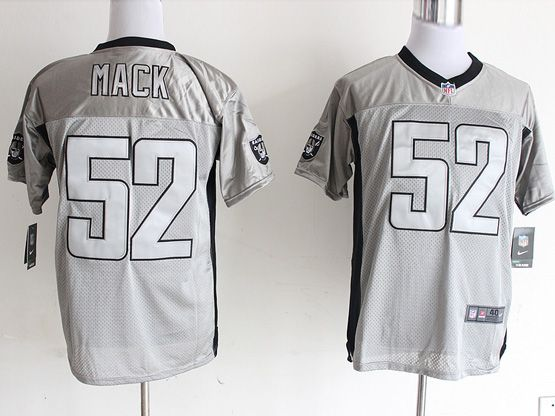 Mens Nfl Oakland Raiders #52 Mack Gray Shadow Elite Jersey