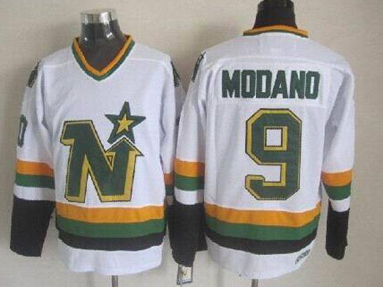 Mens Nhl Dallas Stars #9 Modano White Throwbacks Ccm Jersey