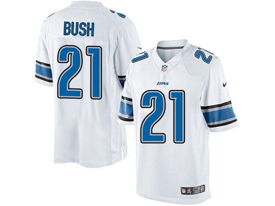 Mens Nfl Detroit Lions #21 Bush White Limited Jersey