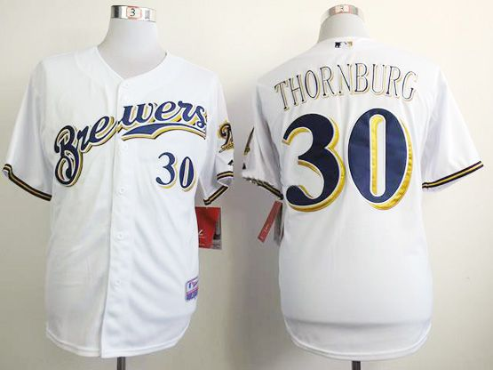 Mens mlb milwaukee brewers #30 thornburg full white Jersey