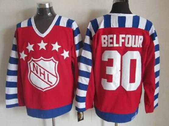 Mens nhl 1992 all star campbell #30 belfour red throwbacks Jersey