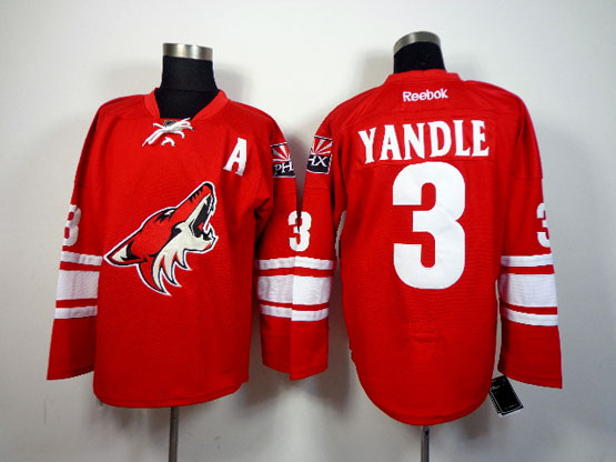 Mens reebok nhl arizona coyotes #3 yandle red a patch Jersey