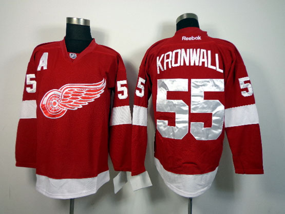 Mens reebok nhl detroit red wings #55 kronwall red a patch Jersey