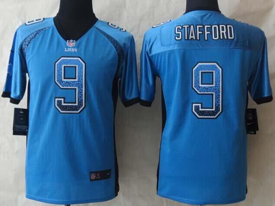 Youth Nfl Detroit Lions #9 Stafford Blue 2014 Drift Fashion Elite Jersey