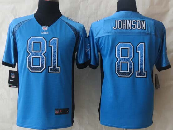 Youth Nfl Detroit Lions #81 Johnson Blue 2014 Drift Fashion Elite Jersey