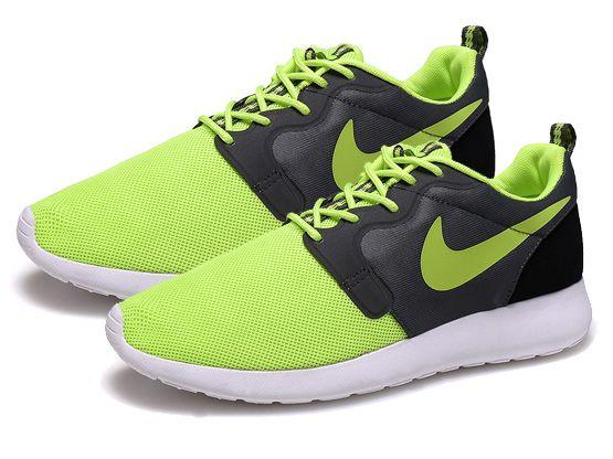 Women    2014 Roshe Run Hyperfuse Shoes Color Black&green&white