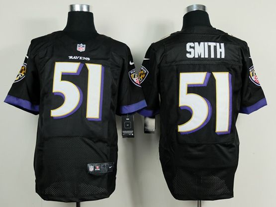 Mens Nfl Baltimore Ravens #51 Smith (2014 New) Black Elite Jersey
