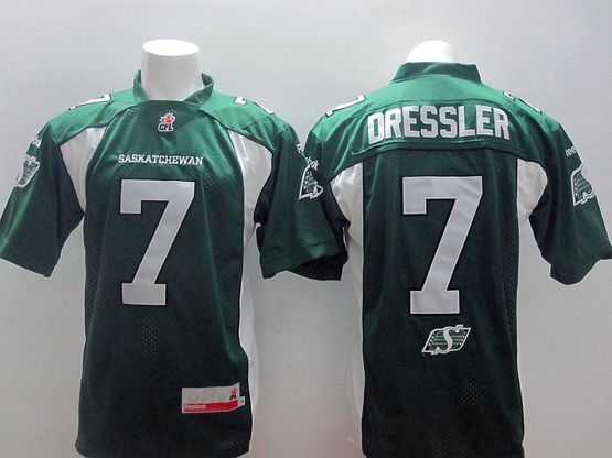 Mens Cfl Saskatchewan Roughriders #7 Dressler Green Jersey