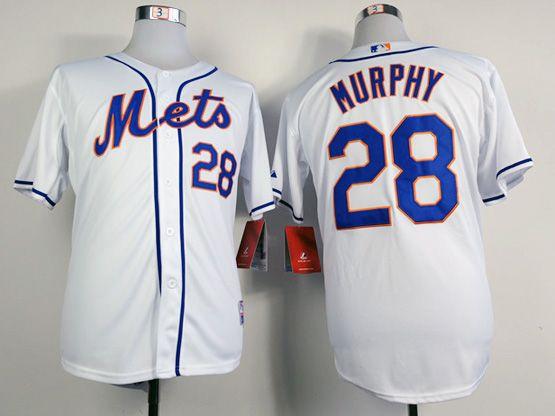 Mens mlb new york mets #28 murphy full white Jersey
