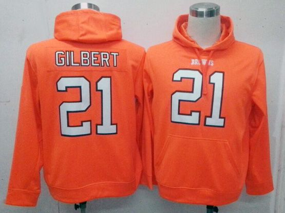 Mens Nfl Cleveland Browns #21 Gilbert Orange Hoodie Jersey