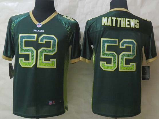 Youth Nfl Green Bay Packers #52 Matthews Green (2014 New Drift Fashion) Elite Jersey