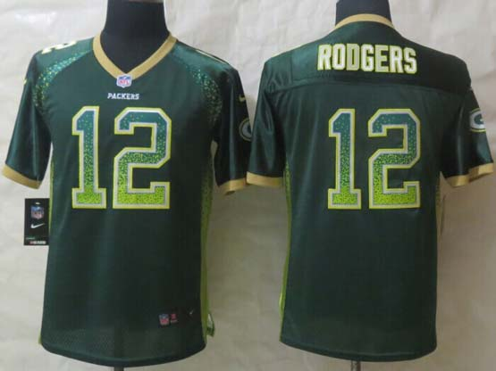 youth nfl Green Bay Packers #12 Aaron Rodgers green (2014 new drift fashion) elite jersey