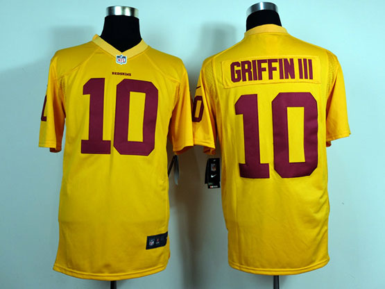 Mens Nfl Washington Redskins #10 Griffin Iii Yellow Game Jersey