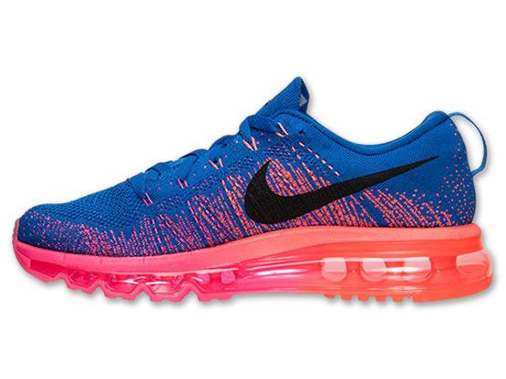 Women    Air Max 2014 Flyknit Running Shoes Color Blue&pink&orange